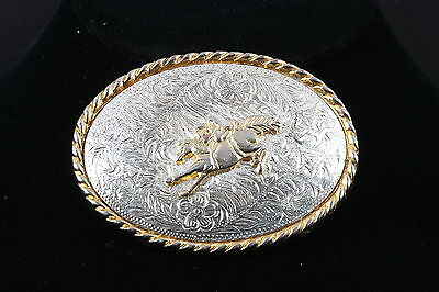 Vintage Two Tone Textured Bucking Bronco Men's Belt Buckle Signed Ivan 4604
