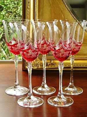 "Set of 6 Beautiful Bohemia ""Petite Fleur"" Royal Crystal Wine glasses."