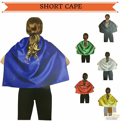 SHORT CAPE Kids Children's Party Costume Vampire Coat School Team Colours New