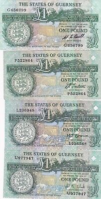 3 x GUERNSEY 1991 P52 £1 BANKNOTES IN VERY FINE CONDITION