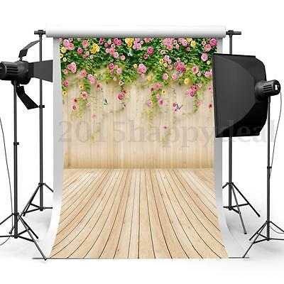 3x5FT Flower Wood Wall Photography Backdrop Photo Studio Prop Hot Background
