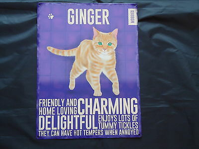 Ginger Cat Large Plaque Metal Sign Wall Art Home Decor