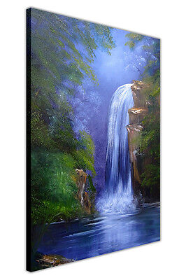 Waterfall in Jungle Oil Painting Re-Print Canvas Wall Art Prints Deco Pictures