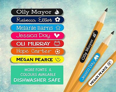 100 x Personalised Name Cute Kids Stickers Labels Stick On - School & Stationary