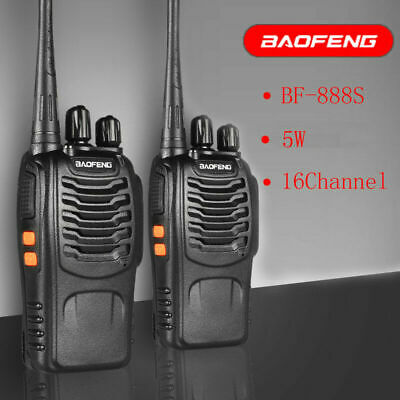 2x Baofeng Walkie Talkie Long Range 2 way Radio UHF 400-470MHZ 16CH Earpiece UK