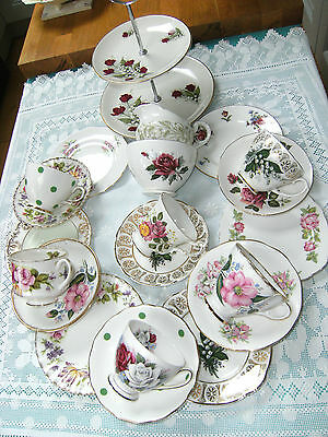 Gorgeous Pinks Green & Floral Mismatched Mixed Teaset 21 Piece 2 Tier Cake Stand