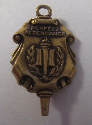 """Vintage PERFECT ATTENDANCE Pin Gold Tone Lapel 7/8"""" x .5"""" Honor Award Service"""