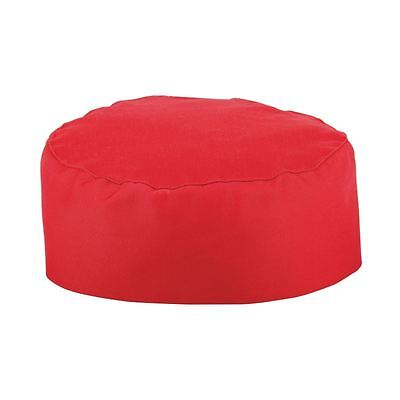 Whites Chefs Apparel Skull Cap Red Polycotton Hat Kitchen Catering Wear One Size