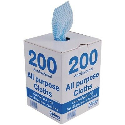 200x Jantex Antibacterial All Purpose Cloth Blue Kitchen Cleaning Wipe Supplies