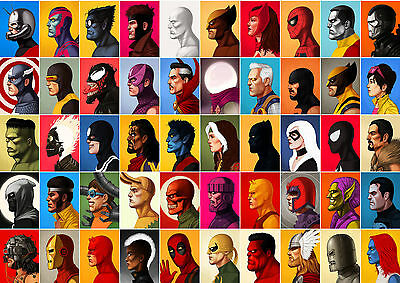 Marvel Heroes and Villains Comic Art Large Poster Print Various Sizes Available