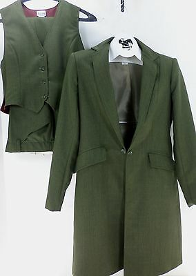 Reed Hill Saddleseat Ld 3p suit Olive pinstripe poly size 18 - USA