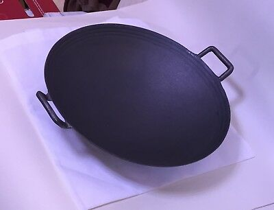 "Wok Cast iron 14""/34.5cm diameter 14cm deep Round base Guaranteed Quality"