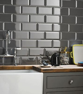 TILE DEALS / SAMPLES: London Metro MIdnight Grey Gloss Brick Wall Tiles 10 X 20