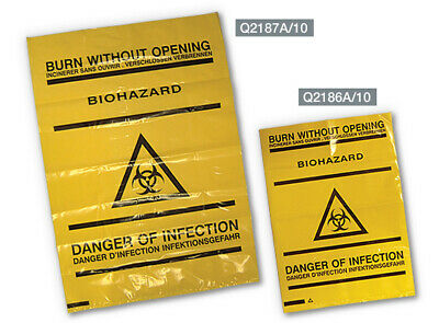 Clinical Waste Bio Hazard Bags - Self Seal - Pack Of 10 - 20.3Cm X 35.4Cm