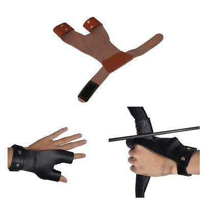 Leather Archery Finger Hand Guard Glove For Target Recurve Bow Shooting Hunting