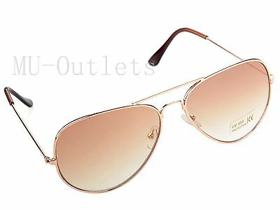 New Classic Aviator Fashion Sunglasses For Men's Women's Retro (Gold-Brown)
