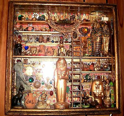 """Egyptian Shadowbox Diorama Collectibles """"The Winged Scarab"""" Museum Handmade"""