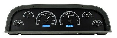 1960-63 Chevy C10 Truck Black Alloy & Blue Dakota Digital VHX Analog Gauge Kit
