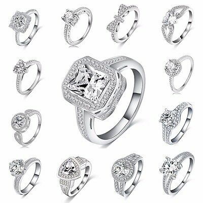 SZ 5-9 Women 925 Sterling Silver Crystal Bridal Engagement Ring Jewelry