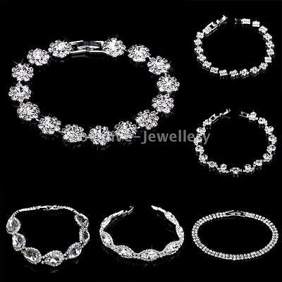 Silver Plated Diamante Crystal Rhinestone Bangle Bracelet Women Wedding Jewelry