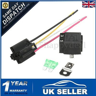 Wired 4 / 5 Pin Car Relay Mounting Base Socket Holder & 30A Fused 4-Pin On Off