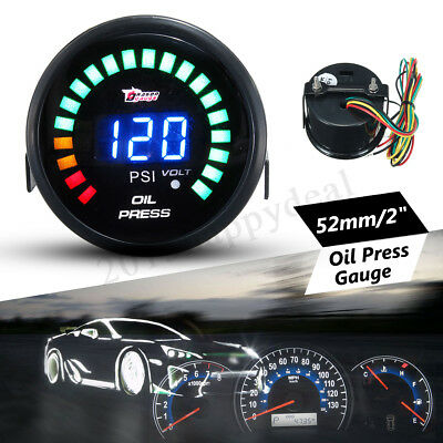 2'' 52MM Car MOTOR LED Digital Oil Press Pressure Gauge Meter Pointer 0~ 120 PSI