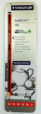 STAEDTLER tradition 110 Softlead Pencils Tin of 6 Sketching Drawing Christmas