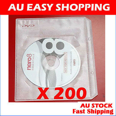 200 White CD DVD sleeves For dvd + Movie cover Storage