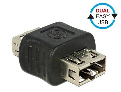 Delock Adapter Dual EASY-USB2.0 Type-A female > female reversible Gender changer