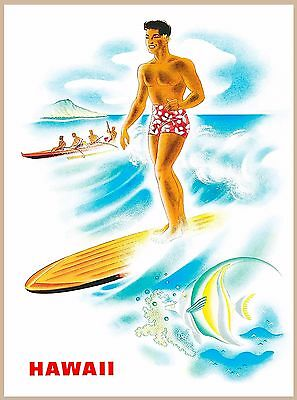 Matson Lines Hawaii Beach Surfer United States Travel Advertisement Poster