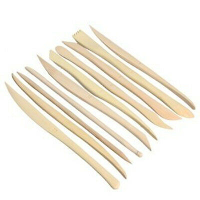 """Major Brushes 6"""" Wooden Clay or Plasticine Modelling Tools x 10 Assorted Shapes"""