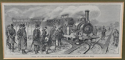 Trial of the Lisbon Steam Tramway Carriage, at Buckhurst Hill - Holzstich 19. Jh