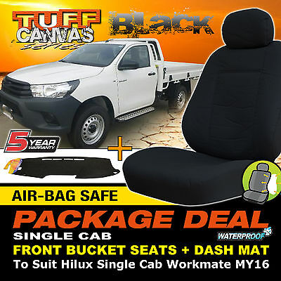TUFF Canvas Seat Covers + Dash Mat Suits Toyota Hilux WORKMATE 10/2015-ON MY16