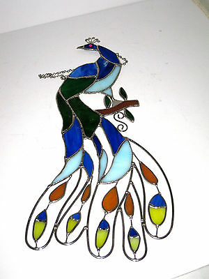 Peacock Stained Glass Sun Catcher Figural Cut Out Beautiful & Bright 15.5 x 7.25