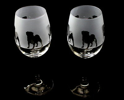Pug Dog Wine Glasses by Glass in the Forest