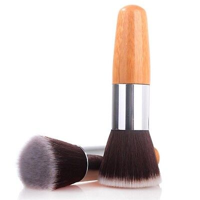 NEW Flat Top Buffer Bamboo Wooden Liquid Foundation Powder Bronzer Makeup Brush