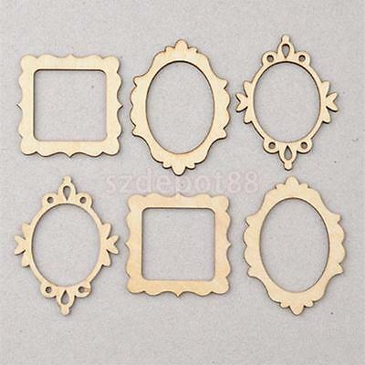 10pcs 3 Unfinished Wooden Frame Craft Shapes Hangers DIY