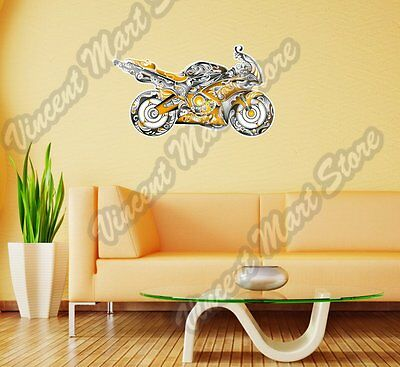 "Sportbike Motorcycle Bike Abstract Wall Sticker Room Interior Decor 25""X16""."