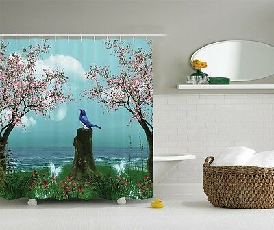 Aqua Blue Pink Cherry Blossom Bird Enchanted Fabric Shower Curtain