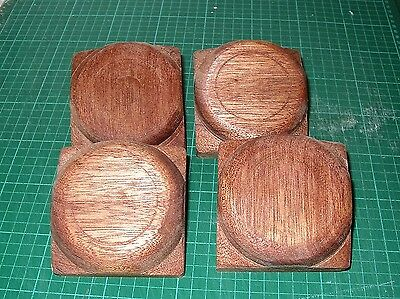 "4 x Fence Post caps - Hardwood - Button tops for 3"" fence or decking posts"