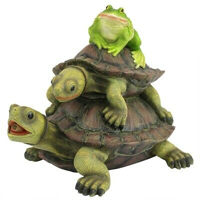 FROG TURTLE TRIO PIPED WATER SPITTER TOWER STATUE Pool Pond Sculpture Fountain
