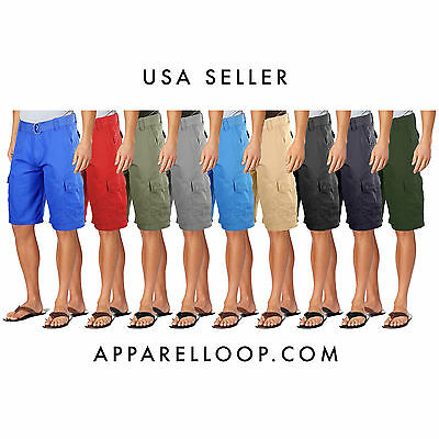 NEW NWT MEN'S COTTON CARGO SHORTS RELAXED FIT  WITH BELT Loop Best Good quality