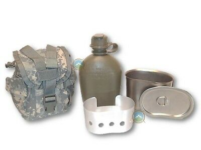 5 PC SET Military NEW 1 Quart Canteen with New Cup, Lid, Stove & used ACU Cover