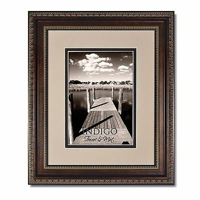 Set of 3 8x10 Ornate Bronze Photo Frames, Glass and Oyster/Espresso Mat for 5x7