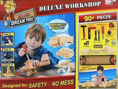 Children's DIY 90pc Deluxe Foam Wood Workshop Kit Play Set Tools Hammer Saw PS96