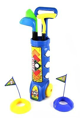 Deluxe Kid's Happy Golfer Caddy Toy Golf Set w/ 3 Golf Clubs & Balls PS311 Blue