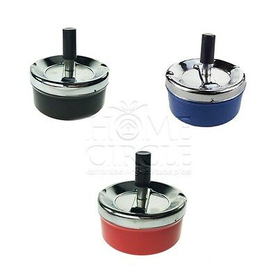 Assorted Colours Silver Metal Spinning Ashtray Tobbacco Cigarette Collectable
