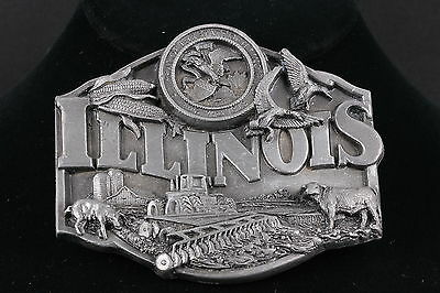 VINTAGE SISKIYOU BUCKLES CO. PEWTER ILLINOIS Made IN USA BELT BUCKLE 4614