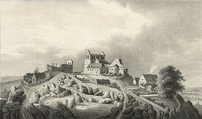 PETERSBERG (bei Halle) - Ansicht des Petersberges - Lithographie 1841