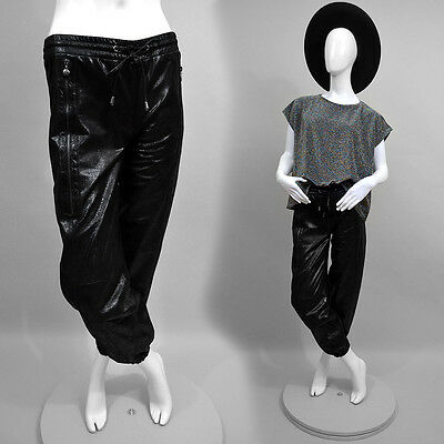 Vintage REAL METALLIC Leather Jogging Sarouel Trousers Designer Pants Slouch XS